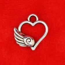 10 x Tibetan Silver Love Heart with an Angel Wing Charm Pendant Jewellery Making
