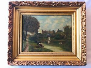 Antique Pastoral Landscape Oil Painting - Cows Sailboat Birds Castle Signed