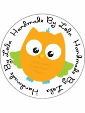 Personalised Stickers Handmade by Labels Various sizes ANY NAME Orange Owl H56