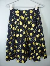 FRENCH CONNECTION black green yellow pleated Aline Lemon fruit print Skirt 6