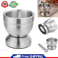 Stainless Steel Mortar and Pestle Set Garlic Spice Herbs Grinder Pill Crusher