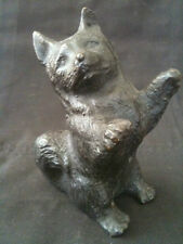 FAITHFUL CAST BRONZE PUPPY DOG FIGURE SCULPTURE 100mm TALL