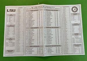 Official 2012 BCS Football Championship Media Flip-Card Alabama Tide LSU Tigers