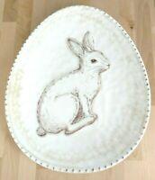 Rabbit Plate Melamine Egg Shape Tray Platter Ivory Farm Country Bunny PBA Free