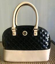As New Anne Klein Sweet Debut Dome Satchel/Shoulder/Crossbody Bag Black & Cream