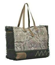 Myra Upcycled Canvas and Leather Gleam Floral Weekender Bag - NEW with TAGS!