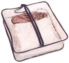 "ACCLAIM Bangor Clear Blue Ladies Plastic Showerproof Zip Front Bag 15"" x 5"""