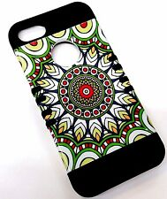 for iPhone SE 5 5s Green Tribal Floral Black Rubber Hybrid Protective Skin Case
