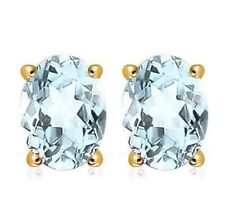 AQUAMARINE EARRINGS 1.33 CWT 10k YELLOW GOLD EARTH MINED