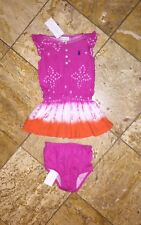 NWT Ralph Lauren Baby Outfit Pink Tie Dye Dress Panty 2pc Set Girl's 12M Months