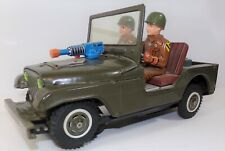 vintage 1960's Tinplate Army Jeep by T. N Toys Japan B/O battery operated