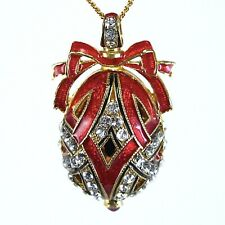 Sterling Silver Faberge Egg Pendant Crystals Guilloché Red Enamel Gold-plate