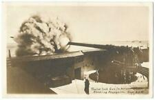 12 Inch US Army Gun in Action Showing Projectile RPPC Real Photo Postcard c.1915