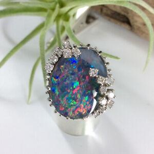 Diamant Opal Ring 585/14k Weißgold 15x Diamant 0,45ct Brillant GRÖßE 58 #5470