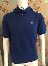 ARMANI JEANS ROYAL BLUE SHORT SLEEVED COTTON HOODED SWEATSHIRT SIZE LARGE BNWT