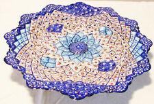 Handmade Persian Enamel Art Mina Kari Wall Hanging Plate Enamelled Blue Plate