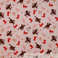 BonEful Fabric Cotton Quilt Pink Brown Horse Shoe Boot Cow*Girl Star US 99 SCRAP