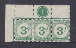 NYASALAND, POSTAGE DUE, 1950 3d. Green, Plate # strip of 3., mnh.