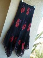 Black Rust Purple Chiffon Embellished Skirt  Lola P Uneven Hemline Stunning  2