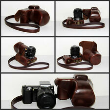 Leather Camera case bag for Sony NEX5T NEX-5T With 18-55 mm Lens coffee NEW 5RN