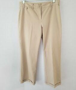 Jones of New York Stretch summer pants S-12 Beige stripe straight leg cuffed pre