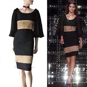 DOLCE & GABBANA vintage 2005 black astrakhan bell sleeve DRESS size 8 US 4 40 dg