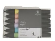 Winsor & Newton Promarker Marker Pens Pastel Tones Set of 6 Art Twin Tip Colours