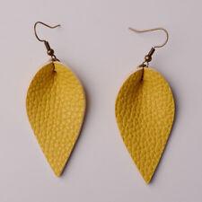 Women Charm Boho Leaf Handmade Leather Earrings Teardrop Dangle Earring Jewelry