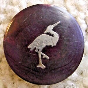 Ex Scarce Antique Silver inlay heron button, ca. 1890s/early 1900s
