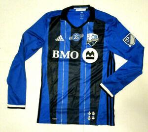 NWT Adidas Impact Montreal Authentic LS Men's MLS Soccer Jersey Blue Black Sz M
