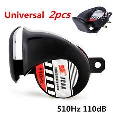2 Pcs Black 12V Loud Car Truck 510Hz 110DB Snail Electric Air Horn Universal