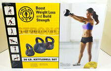 Golds Gym 30lb Kettle Bell Set Includes 3 Kettlebells 5, 10, 15lb & Workout DVD