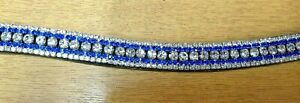 Quality Italian Leather 5 Row  clear Blue crystal mega bling curve Browband