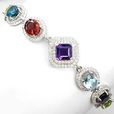 SUBLIME naturale Ametista, citrino, Sapphire, gemme, Cz Sterling 925 Argento Bracciale 7