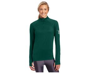 ASICS Women's Team Tech Half Zip Sweater, Forest Green