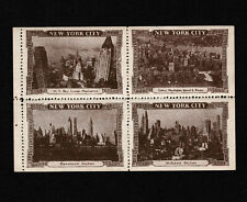 Opc Vintage Views of New York City Block of 4 Poster Stamps