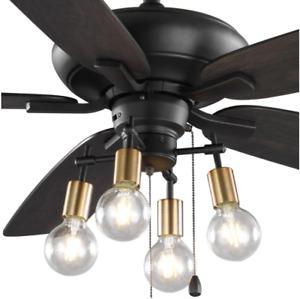"52"" Ceiling Fan Unique Retro Brass Branch Light Transitional Steampunk Fixture"