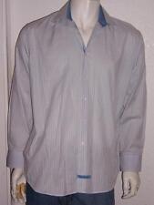 MENS ENGLISH LAUNDRY BLUE YELLOW STRIPE DRESS SHIRT LONG SLEEVE SIZE 17 34-35