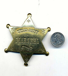 """US Marshal Costume Badge Old West Brass Star County Law 3.5"""" Deadwood Tombstone"""