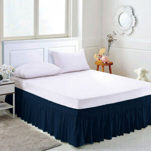 Wrap Around Bed Skirts Drop Solid Color Elastic Bed Skirt Queen King Full Dust
