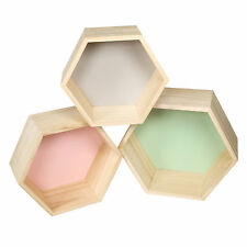 Set of 3 Pastel Wall Mounted Wooden Hexagons Floating Wood Shelves Storage Boxes