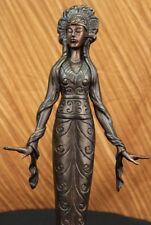 SUPER DEALSigned American Indian Girl Figurine Bronze Sculpture FigurineEf
