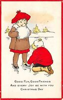 Christmas~Boy Helps Girl With Ice Skates~Red Border Whitney Made~1915 Postcard