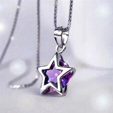 Elegante cristal colgante cadena plata hueco tono estrella zircon collar regaloV