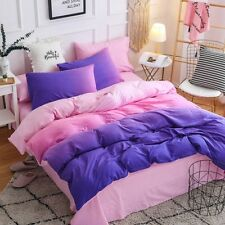 Gradient Color Bedding Set Duvet Quilt Cover+ Pillow Case Three-Piece New Queen