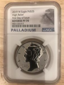 2019 Palladium Eagle Reverse Proof RP70 FDOI First Day Of Issue NGC Graded