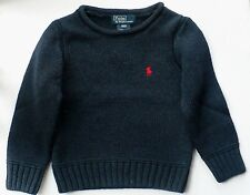 Ralph Lauren Navy Blue Knit Pullover Sweater 2 2T with Red Logo Unisex