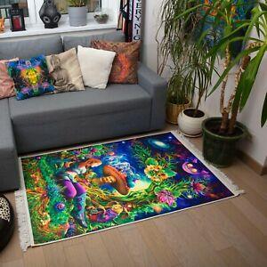 Meditation Home Decor, UV Carpet, Boho Carpet, Mandala Rug, Mystical Art, UV Art