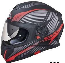 SMK Helmets-Twister-Fluid Matt Black Grey Red-Full Face Dual Visor Bike Helmet-M