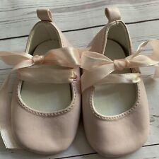Baby Girls 0-6 Months Infant Size 1 - Shoes - Pink Ballet Pumps Ribbon Strap